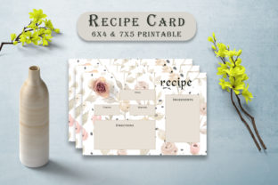 Print on Demand: Rose Patterned Recipe Card Template Graphic Print Templates By Creative Tacos