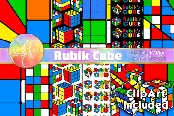 Rubik Cube Digital Paper and Clip Art Graphic Backgrounds By paperart.bymc