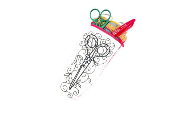 Scissor Love Zipper Case in the Hoop Accessories Diseños de bordado Por Sue O'Very Designs