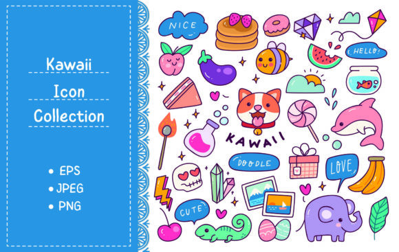 Set of Kawaii Icon in Doodle Style Graphic Illustrations By Big Barn Doodles