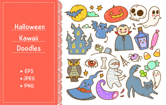 Set of Cartoon Halloween Doodles Graphic Illustrations By Big Barn Doodles