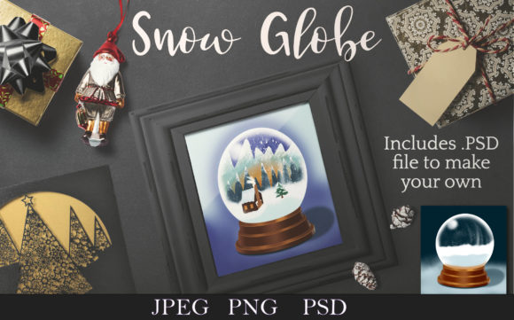Print on Demand: Snow Globe with Cabin Clip Art Graphic Illustrations By Digital Town