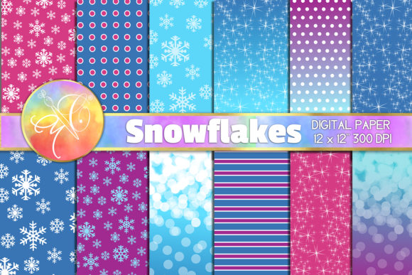 Snowflakes Frozen Winter Digital Paper Graphic Backgrounds By paperart.bymc