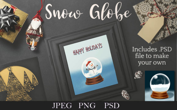 Print on Demand: Snowglobe with Snowman - Clip Art & PSD Graphic Illustrations By Digital Town