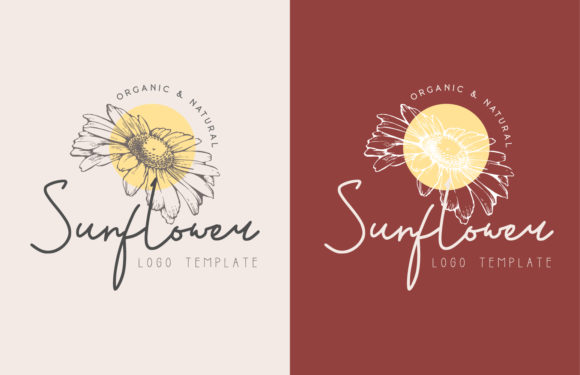 Sunflower Hand Drawn Floral Logo Premium Graphic Logos By byemalkan
