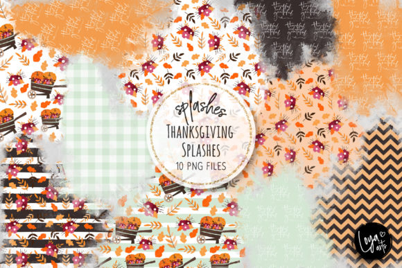 Print on Demand: Thanksgiving Watercolor Splashes 02 Graphic Illustrations By loyaarts