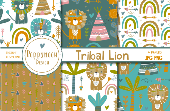 Print on Demand: Tribal Lion Paper Set Graphic Patterns By poppymoondesign