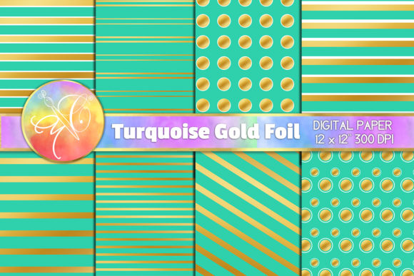 Turquoise and Gold Foil Digital Paper Graphic Backgrounds By paperart.bymc