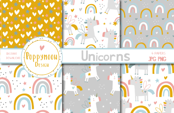 Print on Demand: Unicorns Paper Set Graphic Patterns By poppymoondesign