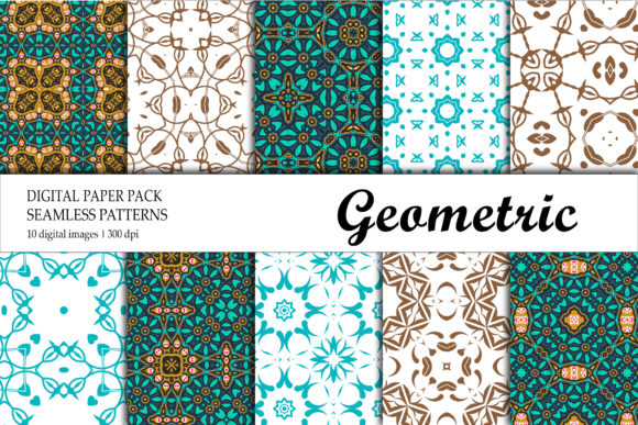 Print on Demand: Wallpaper Geometric Gold Red Green Graphic Backgrounds By isalnesia