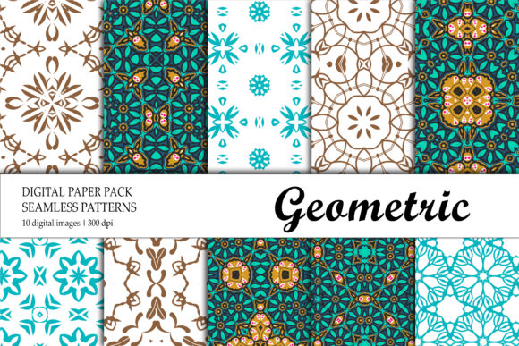 Print on Demand: Wallpaper Geometric Red Green Graphic Backgrounds By isalnesia