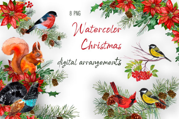 Print on Demand: Watercolor Christmas Digital Arrangement Graphic Illustrations By ElenaZlataArt
