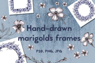 Wreath with Hand-drawn Marigolds Graphic Illustrations By Irisidia