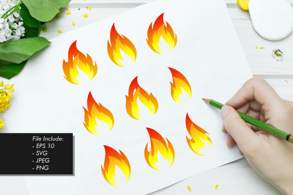 Set of Fire Flames Vector Illustration Graphic Illustrations By hartgraphic