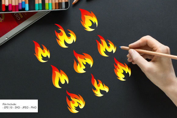 Set of Fire Flames Vector Illustration. Graphic Illustrations By hartgraphic
