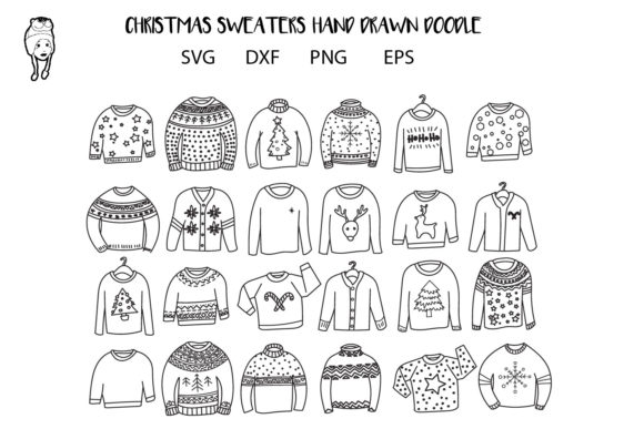 Print on Demand: Sweaters Christmas Doddle Graphic Print Templates By dadan_pm