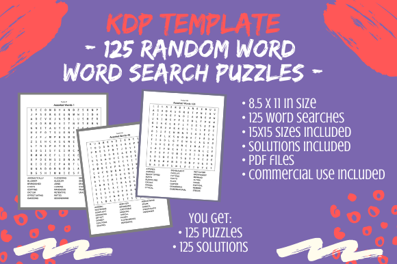Print on Demand: 125 Random Word Search Puzzles, 15x15 Graphic KDP Interiors By Tomboy Designs