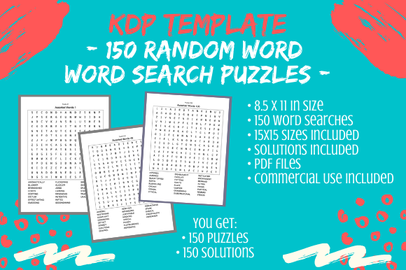 Print on Demand: 150 Random Word Search 15x15 Puzzles Graphic KDP Interiors By Tomboy Designs
