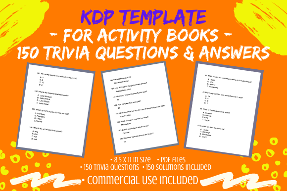 Print on Demand: 150 Trivia Questions & Solutions for KDP Graphic KDP Interiors By Tomboy Designs
