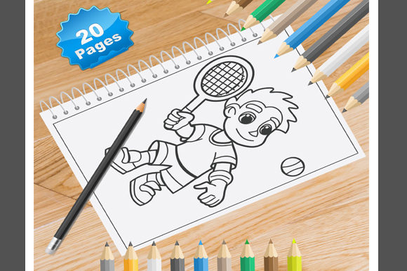 Print on Demand: 20 Tennis Coloring Pages for Kids Graphic Coloring Pages & Books Kids By Coloring World