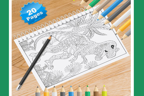 Print on Demand: 20 Zentangle Dinasaor Coloring Pages Graphic Coloring Pages & Books Adults By Coloring World