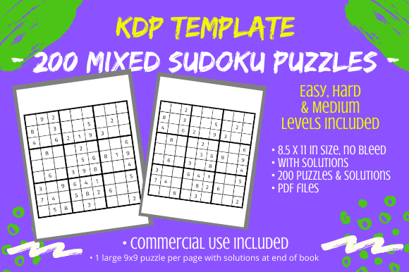 Print on Demand: 200 Mixed Level 9x9 Sudoku Puzzles Book Graphic KDP Interiors By Tomboy Designs