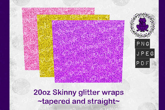 20oz Skinny Tumbler Glitter Wrap Bundle Graphic Textures By Heather Terry