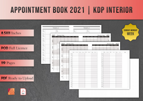 Print on Demand: Appointment Book 2021 | KDP Interior Graphic KDP Interiors By Kleio Design Studio