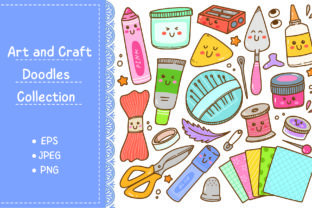 Art and Craft Supplies Doodle, DIY Tools Graphic Illustrations By Big Barn Doodles