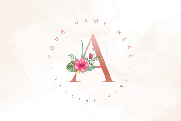 Print on Demand: Beautiful Letter a Floral Logo Design Graphic Logos By Dzyneestudio