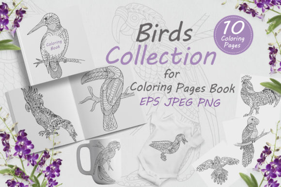 Birds Drawn with Folk Style Flowers Graphic Coloring Pages & Books Adults By FolkStyleStudio