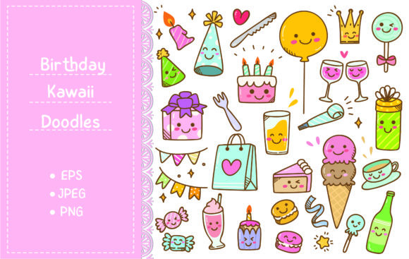 Birthday Doodle in Kawaii Style Graphic Illustrations By Big Barn Doodles