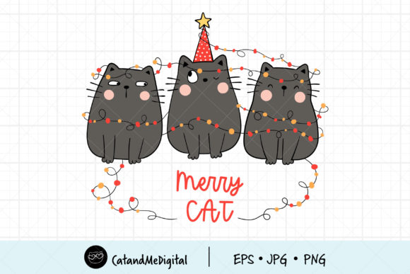 Black Cat Christmas Clipart Graphic Illustrations By CatAndMe