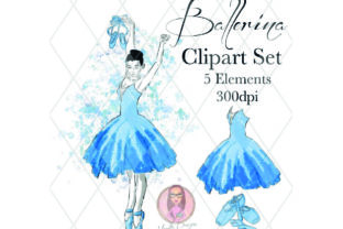 Blue Ballerina Clipart Set Graphic Illustrations By Marelia Designs
