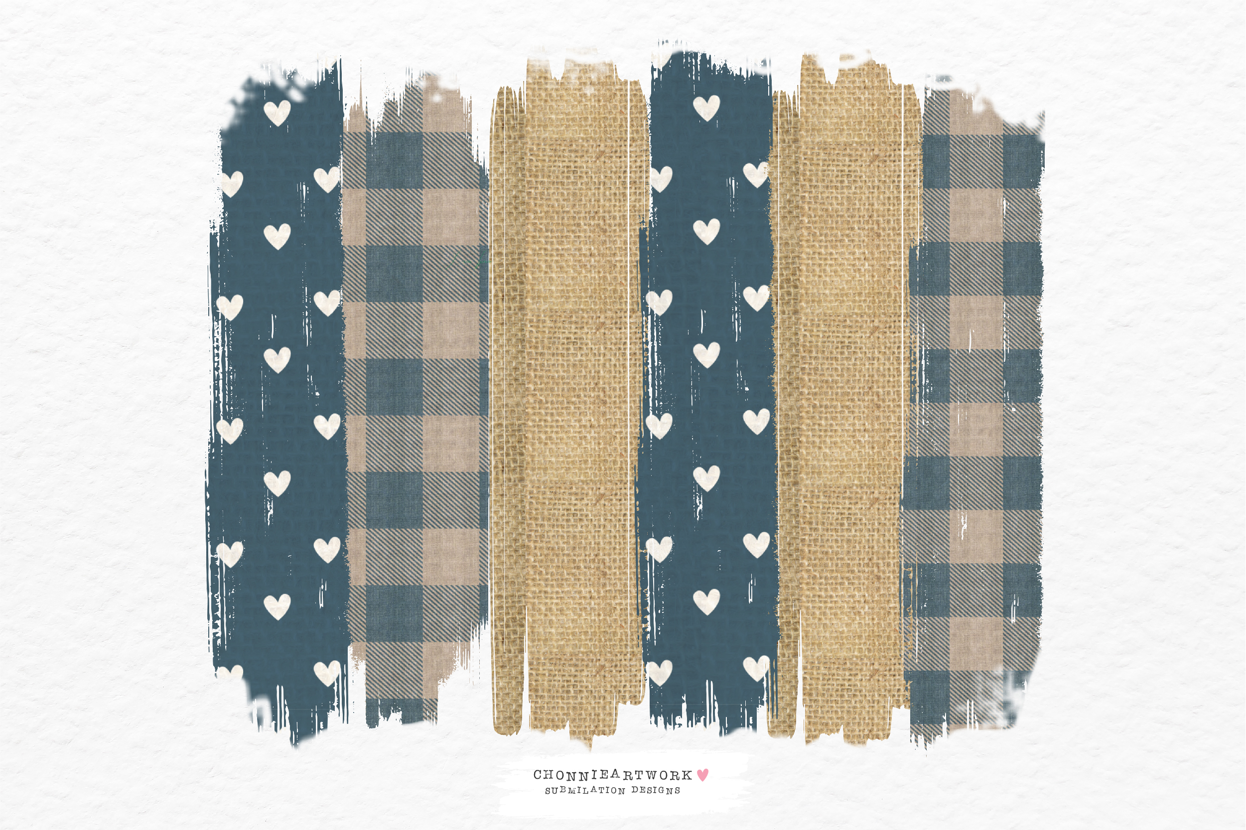 Blue Plaid and Heart Background Brush SVG File