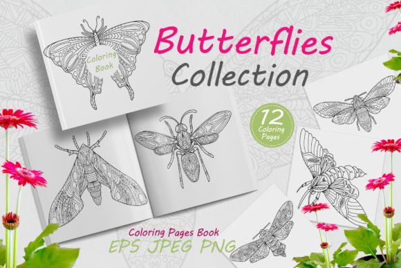 Butterflies Drawn with Abstract Ornament Graphic Coloring Pages & Books Adults By FolkStyleStudio