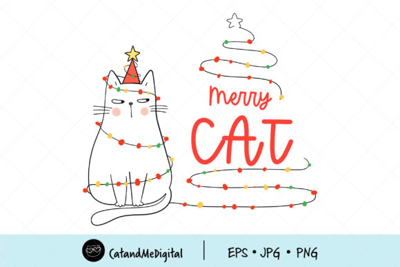 Cat Christmas Clip Art Graphic Illustrations By CatAndMe