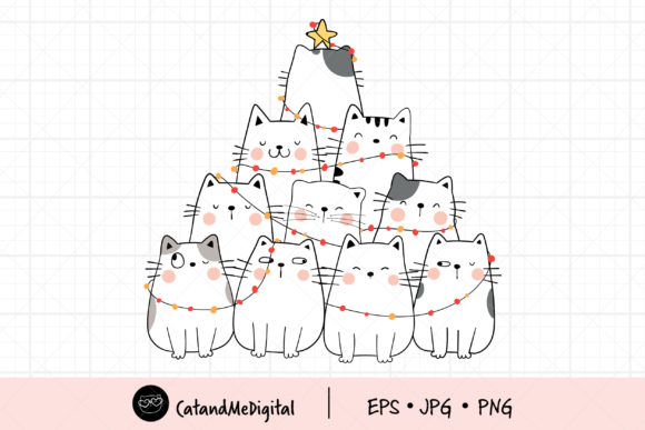 Cat Christmas Tree Clip Art. Graphic Illustrations By CatAndMe