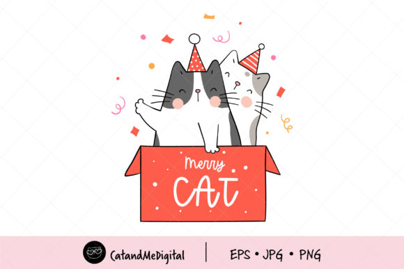 Cat in Christmas Gift Box Graphic Illustrations By CatAndMe