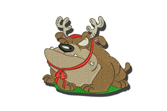 Christmas Bulldog Dogs Embroidery Design By BabyNucci Embroidery Designs