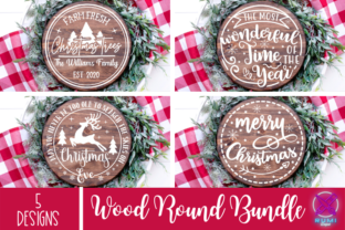 Christmas Bundle, Christmas Wood Round Graphic Crafts By Rumi Designed
