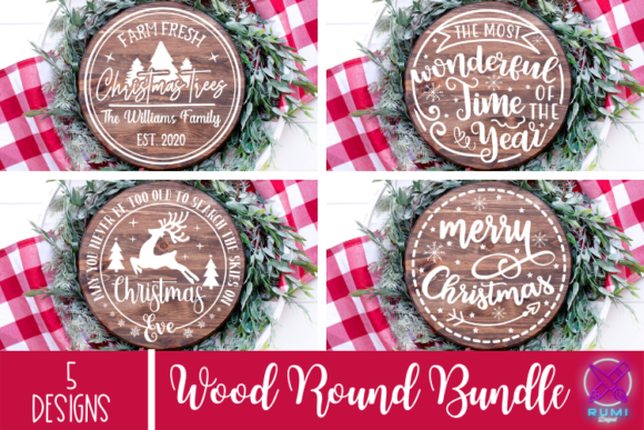 Christmas Bundle, Christmas Wood Round Graphic