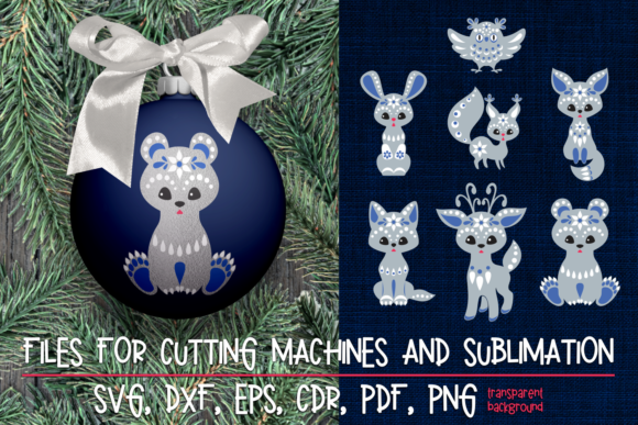 Print on Demand: Christmas SVG Cut Designs with Animals Graphic Crafts By Olga Belova