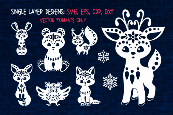 Christmas SVG Cut Designs with Animals Graphic Design