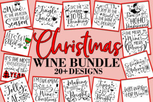 Print on Demand: Christmas Wine Bundle SVG Design Bundle Grafik Plotterdateien von freelingdesignhouse