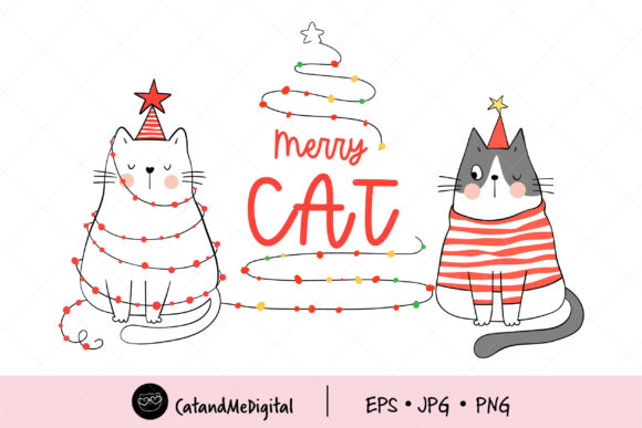 Christmas with Cute Cat Graphic Illustrations By CatAndMe