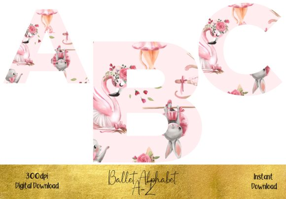Cute Animals Ballet Alphabet Set Graphic Illustrations By STBB