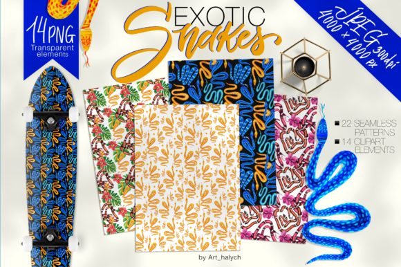 Exotic Snakes - Elements & Patterns Graphic Objects By art.halych