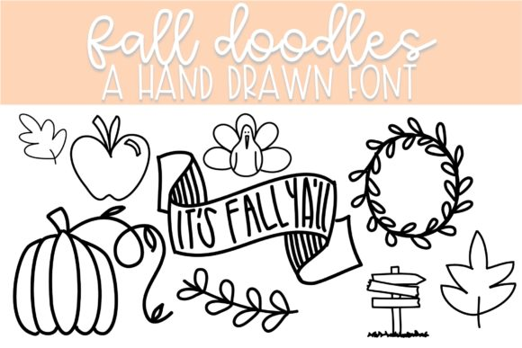 Print on Demand: Fall Doodles Dingbats Font By Fairways and Chalkboards
