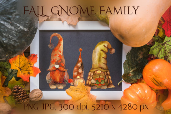 Fall Gnome Family Graphic Crafts By KsenyaArt